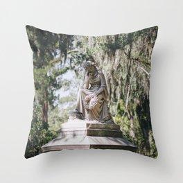 Bonaventure Cemetery - Statue of Eliza Wilhelmina Theus III Throw Pillow