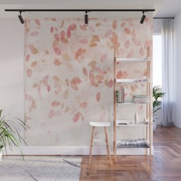 My favourite colour: PINK OCTOBER - Indian Summer - Rose Gold autumnal leaves Wall Mural