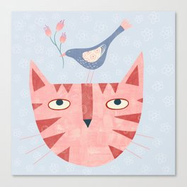 Cat, bird and flower Canvas Print