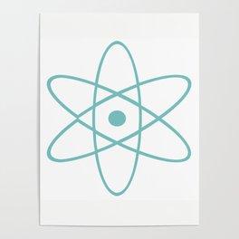 Mid Century Atomic Turquoise Poster