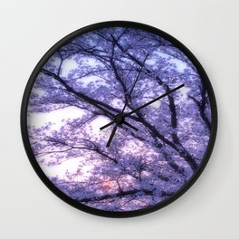 Periwinkle Lavender Flower Tree Wall Clock