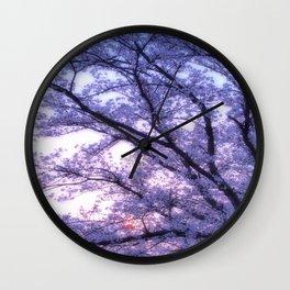 Periwinkle Lavender Flower Tree Wall Clock
