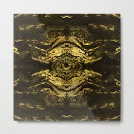 All Seeing eye golden texture on aged wood Metal Print