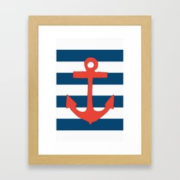Red Nautical Stripe Framed Art Print