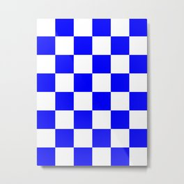 Large Checkered - White and Blue Metal Print