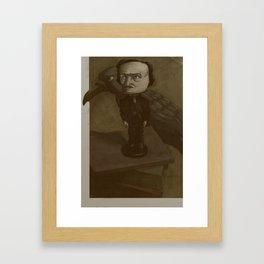 Poe and the Raven Framed Art Print