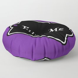 """Fluff Me"" Alice in Wonderland styled Bottle Tag Design in 'Shy Violets' Floor Pillow"