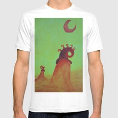 Plants and Moon White Mens Fitted Tee MEDIUM