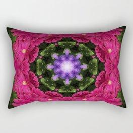 Hot Pink Gerbera And Cool Blue Viola Kaleidoscope Rectangular Pillow