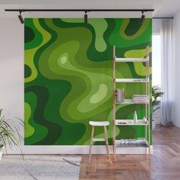 Multi Color Green Liquid Abstract Design Wall Mural