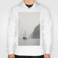 sailboat Hoodies featuring Sailboat by Leonor Saavedra