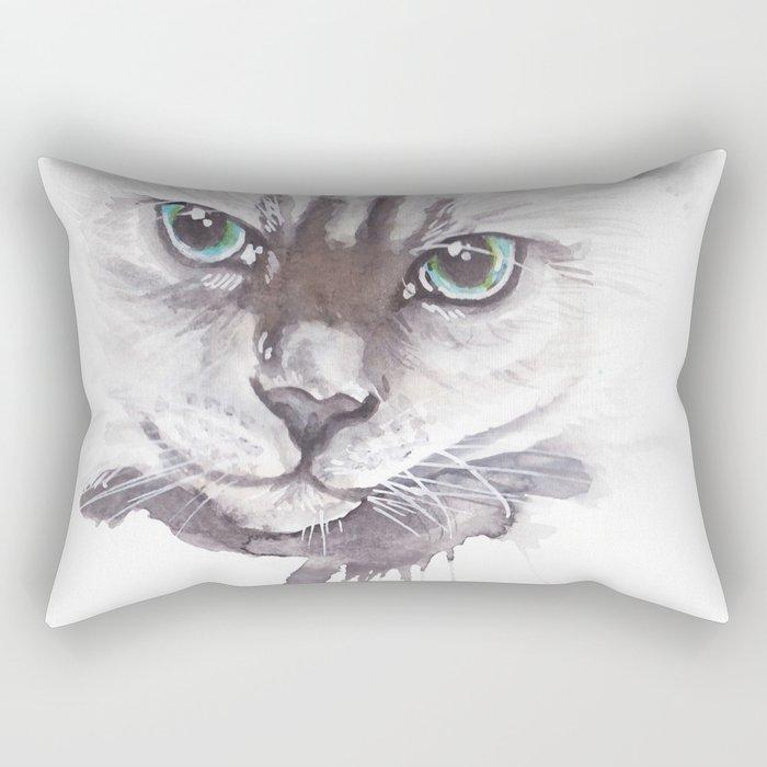 Cat Ragdoll Watercolor painting Rectangular Pillow