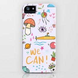Doodle Tattoo Pop Art - unicorn, space, boho doodles iPhone Case