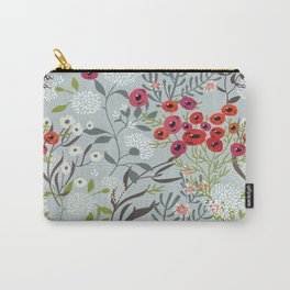 Red Poppies with Blue Carry-All Pouch