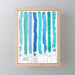 Lipstick Stripes - Blue Teal Turquoise Framed Mini Art Print