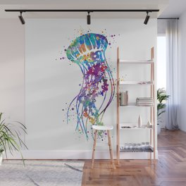Jellyfish Colorful Watercolor Art Gift Ocean Art Wall Mural