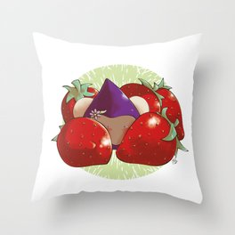 Poppette and strawberries Throw Pillow