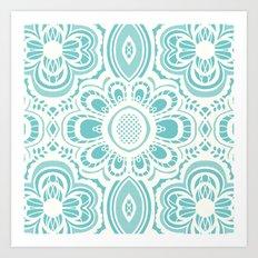 Lace Floral: Aqua Marina Ivory Art Print
