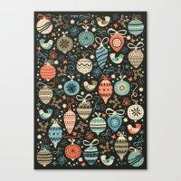 folk Canvas Prints featuring Festive Folk Charms by Poppy & Red