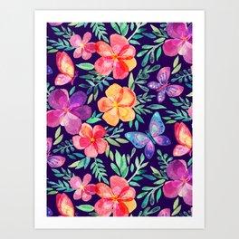 Summer Blooms & Butterflies on Dark Purple Art Print