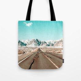 Vintage Desert Road // Winter Storm Red Rock Canyon Las Vegas Nature Scenery View Tote Bag