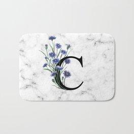 Letter 'C' Cornflower Typography Bath Mat