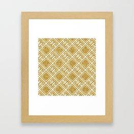 Gold Glitter Greek Pattern Framed Art Print