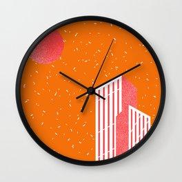 Buildings and Confetti Sky Orange Wall Clock