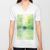 central park V-neck T-shirts featuring Summertime in Central Park by SuisaiGenki
