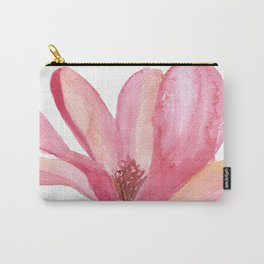 Pink Magnolia Watercolor Floral Carry-All Pouch