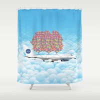 plane Shower Curtains featuring Happy Plane by WyattDesign