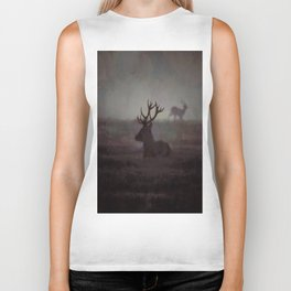 Silhouette Of A Highland Stag Biker Tank