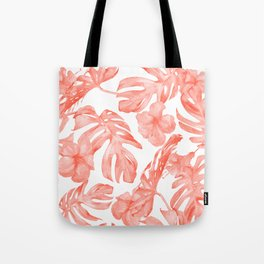 Tropical Hibiscus and Palm Leaves Dark Coral White Tote Bag