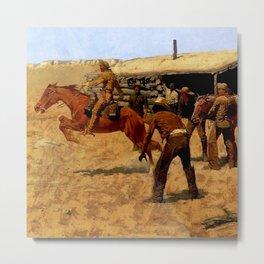 """""""Pony Express"""" by Frederick Remington Metal Print"""