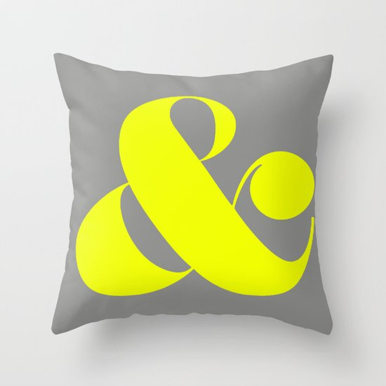Neon yellow and gray ampersand Throw Pillow