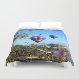 Hot air balloon scene Duvet Cover