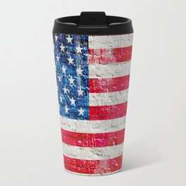 Distressed American Flag On Old Brick Wall - Horizontal Travel Mug