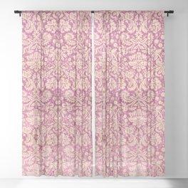Vintage Antique Pink-Rose Wallpaper Pattern Sheer Curtain