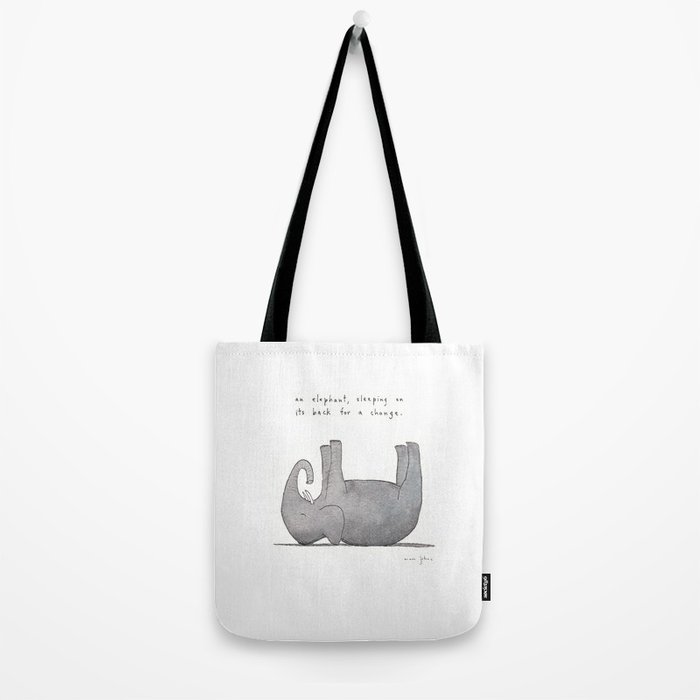 an elephant, sleeping on its back for a change Tote Bag