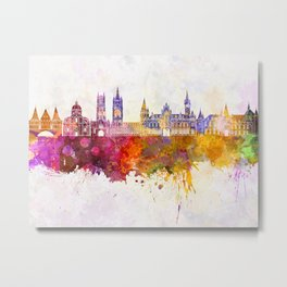 Ghent skyline in watercolor background Metal Print