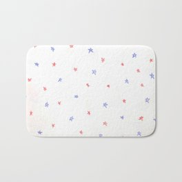 Blue and red stars pattern, 4th of july colored pencil design Bath Mat
