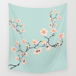 Sakura Cherry Blossoms x Mint Green Wall Tapestry