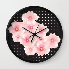 Pink flowers - Polka dots Wall Clock