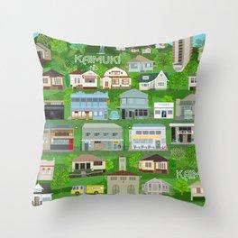 KAIMUKI TOWN, HAWAII Throw Pillow