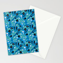 Skeletons in Spring - pacific blue - black Stationery Cards