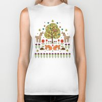 wild things Biker Tanks featuring Woodland Wild Things by Angie Spurgeon