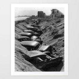 Cars Buried at Andrea Hotel - Misquemicut Beach, Westerly Rhode Island after 1954 Hurricane Carol Art Print