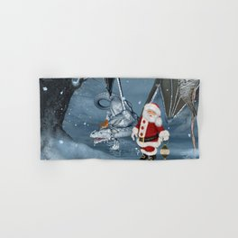 Santa Claus with ice dragon in a winter landscape Hand & Bath Towel
