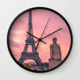 Pink View of Eiffel Tower Paris France Wall Clock
