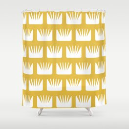Mid Century Modern Flower Pattern Yellow Shower Curtain